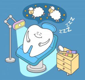 cartoon of tooth sleeping